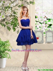 Simple Sweetheart Royal Blue Military Ball Gowns with Belt