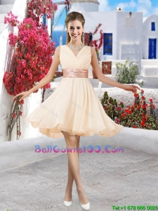 Affordable Champagne V Neck Military Ball Gowns with Belt and Ruching