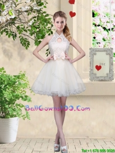Feminine A Line Halter Top Military Ball Gowns with Bowknot and Lace