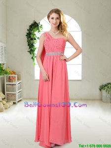 Pretty One Shoulder Sequined Military Ball Gowns in Watermelon Red