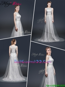 Elegant Empire Bateau Military Ball Gowns with Brush Train