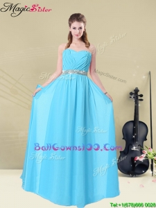 Summer Fashionable Ruching Military Ball Gowns in Aqua Blue