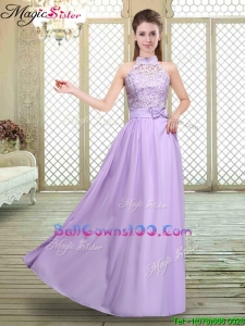 Sweet High Neck Lace Lavender Military Ball Gowns
