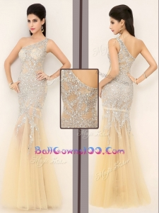 2016 Gorgeous Mermaid One Shoulder Beading Military Ball Gowns in Champagne