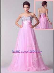 2016 Lovely A Line Brush Train Rose Pink Military Ball Gowns with Beading for Spring