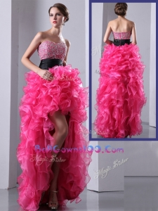 2016 Exquisite High Low Hot Pink Military Ball Gowns with Ruffles