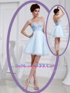 Discount Short Sweetheart Beading Best Military Ball Gowns in Light Blue