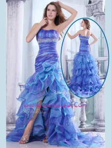 Hot Sale Column Sweetheart High Low Beading and Ruffled Layers Best Military Ball Gowns