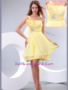 Lovely Short One Shoulder Beading and Belt Best Military Ball Gowns