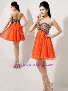 Low Price Short Orange Red Best Military Ball Gowns with Beading and Sequins