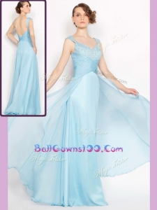 New Style Empire Brush Train Light Blue Exquisite Military Ball Gowns with Beading