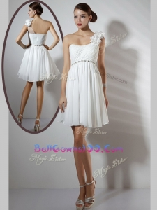 Simple Empire One Shoulder Short Best Military Ball Gowns in White
