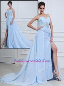 The Super Hot Brush Train Sweetheart Beading Best Military Ball Gowns in Light Blue