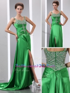 Luxurious Column Beading and High Slit Exquisite Military Ball Gowns with Court Train