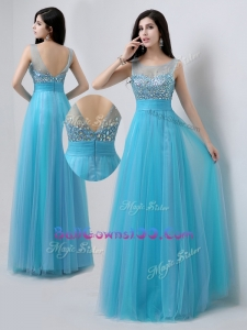 Pretty Scoop Empire Beading Exquisite Military Ball Gowns in Baby Blue