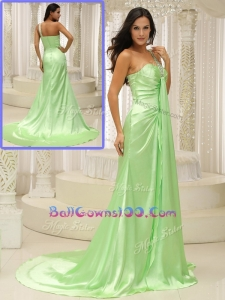 Elegant Column One Shoulder Beading Luxurious Military Ball Gowns with Brush Train