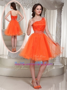 Latest One Shoulder Beading Short Luxurious Military Ball Gowns for Party