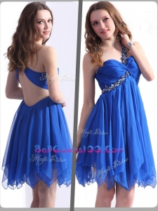 Best One Shoulder Blue Short Luxurious Military Ball Gowns with Beading