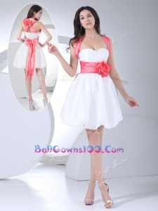 Cheap Straps Hand Made Flowers Short Military Ball Gowns On Sale in White