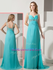 Elegant Empire Straps Beading Turquoise Military Ball Gowns On Sale with Brush Train