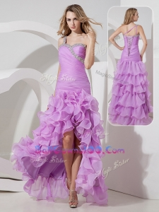 Perfect Column High Low Military Ball Gowns On Sale with Ruffled Layers