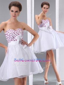 Popular Sweetheart White Short Military Ball Gowns On Sale with Beading