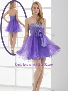 Beautiful Sweetheart Eggplant Purple Short New Style Military Ball Gowns with Beading