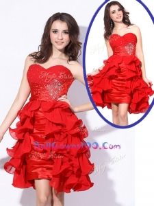 Best Sweetheart Red Short Military Ball Gowns On Sale with Beading and Ruffles