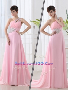 Fashionable One Shoulder Brush Train Beading Baby Pink New Style Military Ball Gowns
