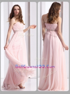 Simple Strapless Beading Long Military Ball Gowns On Sale in Baby Pink