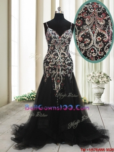 Fashionable Spaghetti Straps Beaded Tulle Black Military Ball Gowns with Brush Train