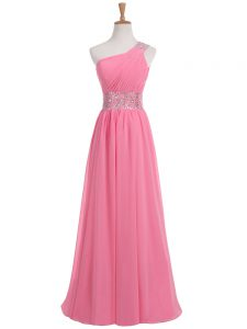 Rose Pink Sleeveless Chiffon Backless Ball Gown Prom Dress for Prom