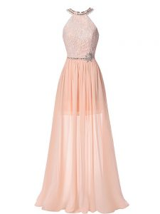 Lovely Peach Sleeveless Chiffon Backless Military Ball Dresses for Prom and Military Ball and Beach