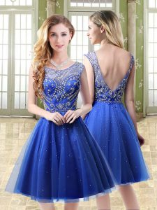 Exquisite Royal Blue Backless Scoop Beading Military Ball Dresses Tulle Sleeveless