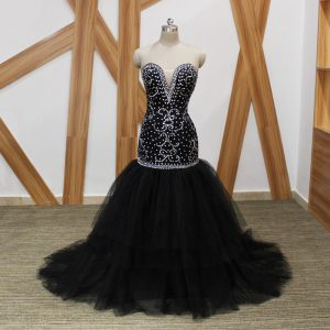 Decent Black Mermaid Beading Military Ball Gowns Lace Up Tulle Sleeveless