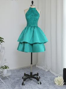 High Class Turquoise Zipper High-neck Lace and Appliques Military Ball Dresses For Women Satin Sleeveless