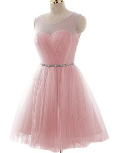 Modest Pink Lace Up Scoop Beading and Ruching Ball Gown Prom Dress Tulle Sleeveless