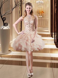 Peach Scoop Lace Up Beading Military Ball Gown Sleeveless