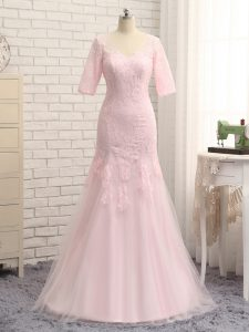 Latest Floor Length Baby Pink Military Ball Gowns Tulle Half Sleeves Lace and Appliques