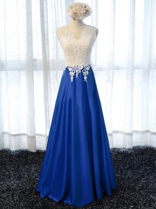 Royal Blue Sleeveless Elastic Woven Satin Zipper Military Ball Dresses For Women for Prom and Military Ball and Sweet 16