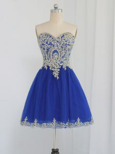 High End A-line Ball Gown Prom Dress Royal Blue Sweetheart Tulle Sleeveless Mini Length Zipper