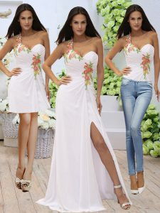 Sumptuous White One Shoulder Neckline Appliques Military Ball Gown Sleeveless Zipper