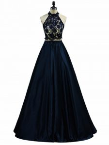 Elegant Navy Blue Sleeveless Taffeta Zipper Military Ball Gown for Prom and Party and Military Ball