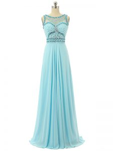 Scoop Sleeveless Military Ball Gowns Floor Length Beading Aqua Blue Chiffon