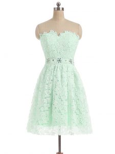 Mini Length Zipper Military Ball Dresses Apple Green for Prom and Party and Sweet 16 with Beading and Lace