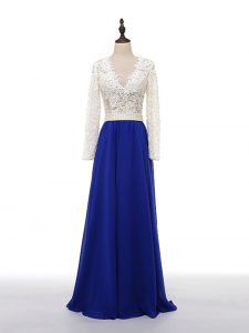 Lace and Appliques Ball Gown Prom Dress Blue And White Zipper Long Sleeves Floor Length