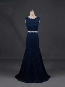Navy Blue Column/Sheath Lace Scoop Sleeveless Beading Floor Length Backless Military Ball Dresses