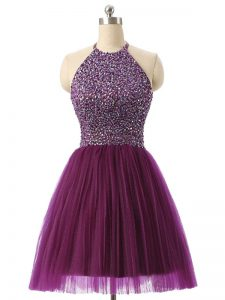 Modern Sleeveless Tulle Mini Length Backless Military Ball Gown in Dark Purple with Beading and Sequins
