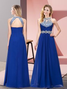 Suitable Floor Length Empire Sleeveless Blue Military Ball Gowns Zipper