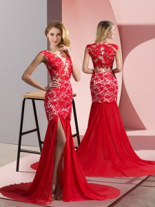 Chiffon V-neck Sleeveless Brush Train Zipper Lace Military Ball Gown in Coral Red